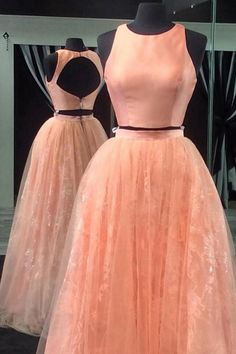Two Piece A-line Jewel Open Back Long Coral Prom Dress with Beading Lace