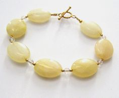 Yellow Jasper Bracelet Clear Fluorite by SendingLoveGallery