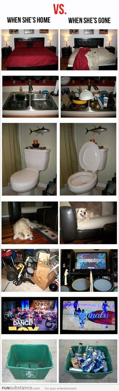 What happens when your wife is away - From 69 Silly Happens pics, photos and memes. - SillyCool