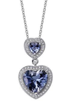 Micro Pave CZ & Created Tanzanite Double Heart Pendant Necklace <3