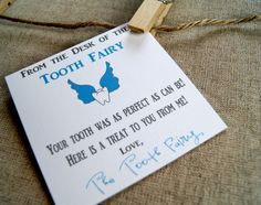 Tooth Fairy Note Cards. Just replicated this for Austin's first lost tooth! @Jess Pearl Pearl Liu Buckler
