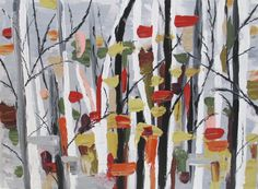 Abstract Autumn Tree painting ORIGINAL 18x42 by AnnaToozeFineArt