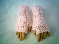 Fingerless Gloves Pattern Knitting Cable Crochet by CarussDesignZ Knitting Stitches, Hand Knitting, Knitting Patterns, Crochet Patterns, Fingerless Gloves Knitted, Knit Mittens, Patons Classic Wool, Pink Cotton Candy, Lion Brand