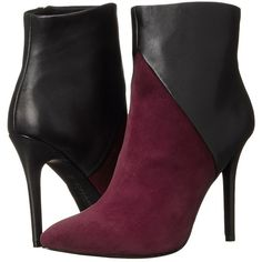 Charles by Charles David Pine (Burgundy/Black Suede/Leather) Women's... ($90) ❤ liked on Polyvore featuring shoes, boots, ankle booties, ankle boots, brown, black high heel boots, black suede booties, brown booties, black leather bootie and suede ankle boots