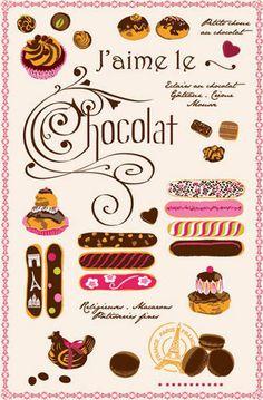 J'aime le Chocolat Tea Towel - La Laguiole