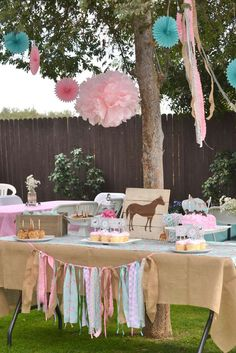 My Little Pony Birthday Party Food Idea- Under the 'My Little Pony Party Food & Drinks' section, find lots of food tag ideas. Flitterheart's Heart Shaped Sandwiches, Pinkie Pie's Pink Lemonade, etc. Horse Theme Birthday Party, Shabby Chic Birthday Party Ideas, Farm Birthday, 6th Birthday Parties, Girl Horse Party, Cowgirl Birthday Cakes, Third Birthday Girl, Country Birthday Party, Birthday Ideas