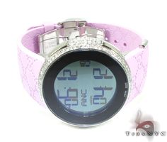 Ladies Pink Fully-Iced Gucci Watch YA114404 Ladies Gucci White Stainless Steel Round Cut 4.00 ct - TraxNYC.com