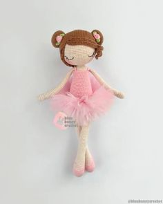 Ballerina Rosie, Amigurumi Crochet Pattern. Ballerina Crochet Doll Pattern 14,5 inches - 37cm This is a DOWNLOADABLE TUTORIAL. Written in English. Using US terminology. Materials • 2mm crochet hook or any size you prefer • I have used 4ply 100% cotton yarn • 1-1,5m long, 10-12cm wide tulle • Crochet Amigurumi Free Patterns, Crochet Doll Pattern, Crochet Dolls, Diy Tutu, Bunny Crochet, Cute Crochet, Crochet Ideas, Ballerina Doll, Doll Tutorial