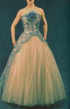 Fifties Couture Photographed by Olivier Theysken. Ballgown by Pierre Balmain, circa 1952.