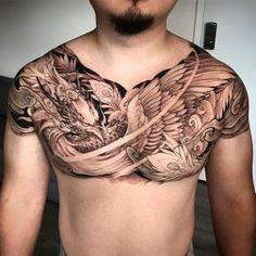 "4,883 lượt thích, 31 bình luận - Tristen Zhang (@tristen_chronicink) trên Instagram: ""Phoenix chest piece in progress @chronicink @tatsoul #envycartridges #wearproud #workproud"""