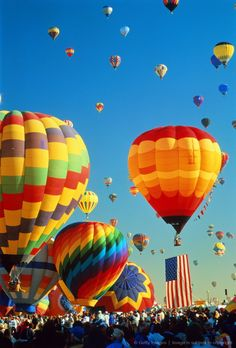 Image detail for -USA,New Mexico,Alburquerque,Balloon Fiesta,hot-air balloons taking off
