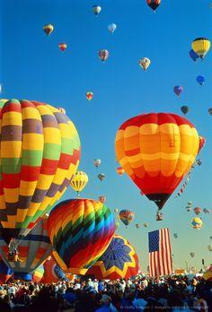 Image detail for -USA,New Mexico,Alburquerque,Balloon Fiesta,hot-air balloons taking off