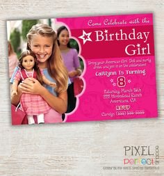 American Girl Doll Invitation American Girl by PixelPerfectShoppe