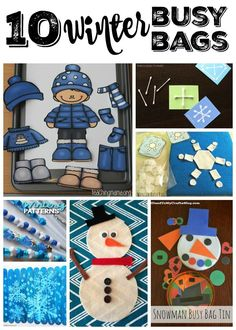 Keep little ones busy with these ten Winter Busy Bags that are easy to set up. Preschool Christmas Activities, Preschool Art Projects, Time Activities, Winter Activities, Infant Activities, Preschool Activities, Preschool Winter, Travel Activities, Winter Thema