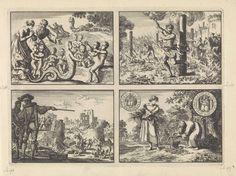 Jan Luyken | Monsters en misgeboorten, ca. 1590 /  Vier brandstichters te Praag levend verbrand, ca, 1583 / Spinola doet de muren van Mülheim afbreken, 1614 / Wonderlijke verschijning van een oud mannetje aan een arm boerenmeisje, terwijl hij haar mand vult met zilveren munten, 1605, Jan Luyken, 1698 | Onversneden blad met vier prenten.