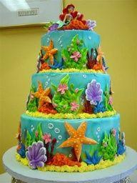 Under the sea Ariel cake inspiration! Little Mermaid Birthday Cake, Little Mermaid Cakes, Mermaid Cupcakes, Pretty Cakes, Cute Cakes, Sirenita Cake, Ariel Cake, Sea Cakes, Disney Cakes