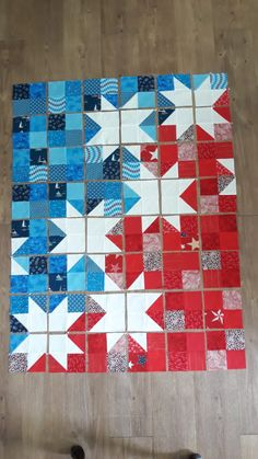Star Spangled Baby Quilt - Under the Perry Tree - Star Spangled Baby Quilt – Under the Perry Tree - Flag Quilt, Patriotic Quilts, Star Quilt Blocks, Star Quilts, Mini Quilts, Blue Quilts, Scrappy Quilts, Owl Quilts, Easy Quilts