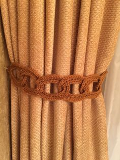 Crochet Curtain Tieback - 1 pair, rusty gold by JinesCrafts on Etsy