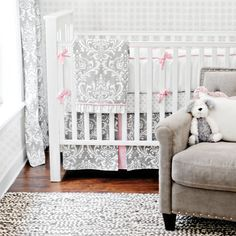 Pink & Gray Stella Gray Baby Bedding Set