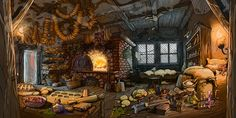 "Bakehouse for ""The Day Before Breakfast"" (point and click adventure game) Fantasy Places, Fantasy World, Fantasy Art, Environment Concept Art, Environment Design, Fantasy Setting, Witch House, Anime Scenery, Fantasy Landscape"