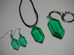 Zelda green rupees pendants - Different sizes - Green color - From The Legend of Zelda.