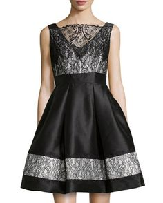 A-Line Cocktail Dress, Black/White by Theia at Neiman Marcus. Love love love, want want want ❤