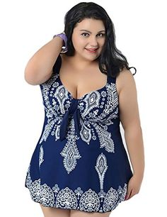 YouYee Womens Plus Size Swimwear Two Pieces with Shorts slimming Swimsuit >>> To view further for this item, visit the image link. (This is an affiliate link)