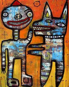 HUGHART abstract outsider funky folk art painting 11x14 print A BOY AND HIS DOG