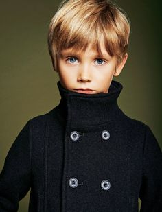 Harper: Wool Pea Coat, Armani Junior | Photo by Laurent Humbert