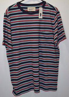 NEW #Arizona Jeans Men's #Striped #Multicolor Short Sleeve Shirt Size XL #Arizona #RoundNeck
