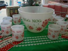 Vintage Fire King Christmas Egg Nog Set