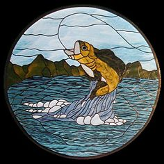 Gone Fishing Stained Glass
