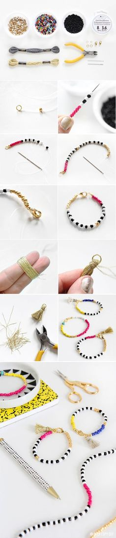 Cute beaded tassel bracelet