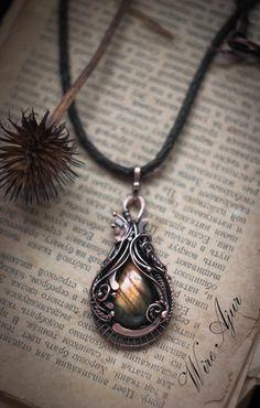 Wire wrapped pendant Labradorite boho pendant Copper by WireAjur