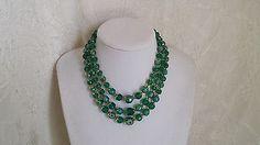 Aurora Borealis West German Green Lucite Bib Necklace 3 Strand – Rogue's Estate Jewelry & Antiques