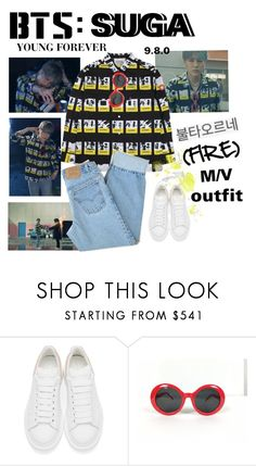 """BTS: SUGA ""Fire"" M/V Outfit"" by itzbrizo ❤ liked on Polyvore featuring Alexander McQueen and Levi's"