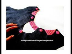 Beautiful Neck Design for Kameez / Kurti / Blouses- Simple & Easy making at Home Chudithar Neck Designs, Neck Designs For Suits, Sleeves Designs For Dresses, Blouse Neck Designs, Sleeve Designs, Plain Kurti Designs, Simple Kurti Designs, Sari Blouse Designs, Fancy Blouse Designs