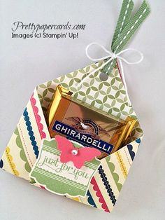 Tutorial for the Chocolate Cozy - Pretty Paper Cards Envelope Punch Board, Paper Gifts, Paper Cards, Candy Crafts, Diy Crafts, Chocolates, Treat Holder, Treat Box, Tea Gifts