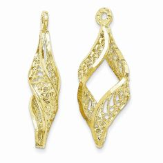 14k Yellow Gold Polished Filigree and Diamond Cut Dangle Earring Jackets *** You can find more details by visiting the image link.