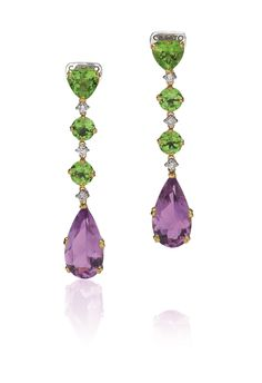 """Vivid Green Peridot meets deep shade of Lavender Amethyst in these Rose Gold and Diamonds """"Acqua"""" earrings by CASATO Gioielli. Green Peridot, Purple Amethyst, Amethyst Earrings, Drop Earrings, Diamond Earrings, Titanic Jewelry, Purple Aesthetic, Pink Quartz, Green And Purple"""