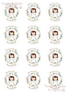 tartas y nubes de azúcar: Primera comunión Clock Printable, Printable Crafts, Printables, Wedding Illustration, Christmas Coloring Pages, First Holy Communion, Digi Stamps, Baby Prints, Name Cards