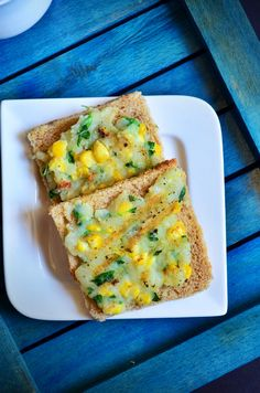 Corn potato open toast recipe is a very simple to make snack with bread,corn and potatoes. Creamy corn toast without any cheese! Easy To Make Breakfast, Breakfast Snacks, Breakfast Recipes, Vegan Breakfast, Breakfast Items, Indian Chicken Recipes, Goan Recipes, Indian Food Recipes, Indian Snacks