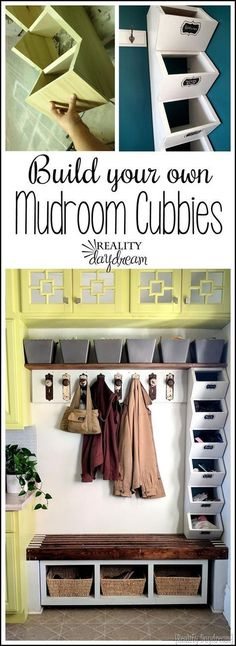 Tutorial for building these simple mudroom cubbies to store hats and mittens {Re. Tutorial for building these simple mudroom cubbies to store hats and mittens {Reality Daydream} hallway closet organization Cubby Storage, Diy Storage, Storage Ideas, Shoe Storage, Storage Room, Storage Solutions, Mudroom Cubbies, Bench Mudroom, Home Remodeling Diy
