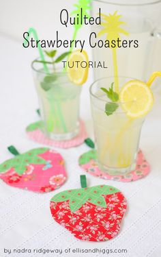Quilted Strawberry Coasters tutorial