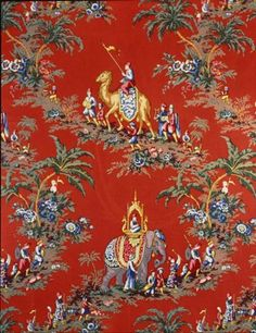 Brunschwig & Fils Beauport Promenade, glazed chintz in red. Inspired by Beauport, Sleeper McCann House, Gloucester, Massachsuetts