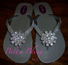 0d8eec91c921 Silver metallic flip flops with Swarovski clear crystals and large clear  rhinestone bubble brooch