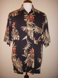 NAUTICA Hawaiian SHIRT Floral Black Rayon L #Nautica #Hawaiian