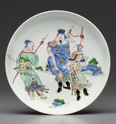 A famille verte green-glaze-backed dish, Kangxi six-character mark in underglaze blue within a double circle and of the period Historical Artifacts, Asian Decor, Chinese Ceramics, Qing Dynasty, Victoria And Albert Museum, Pottery Bowls, Museum Collection, Coin Collecting, Antique Items
