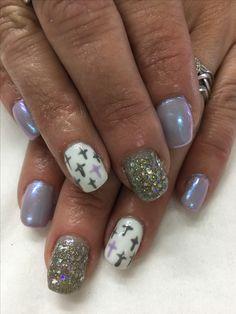 Spring Easter Lavender Mermaid Magpie Iris Unicorn Effect Silver Grey Glitter Cross Design Accent Gel Nails