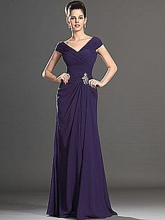 V Neck Chiffon A Line Mother of the Bride Dress - USD $119.00